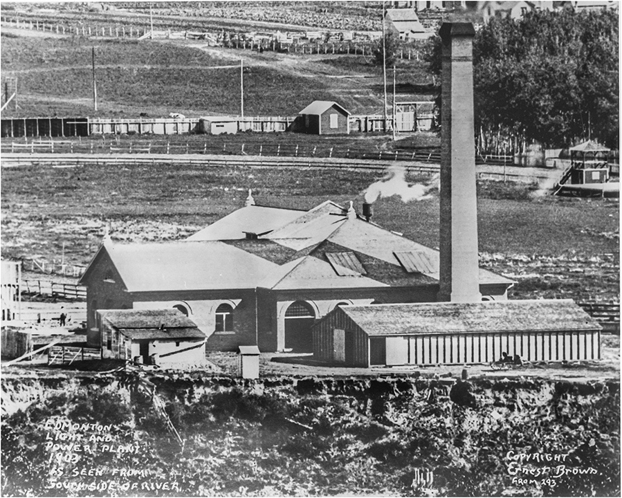 Edmonton Light and Power 1903 Photo, viewed from the South river bank