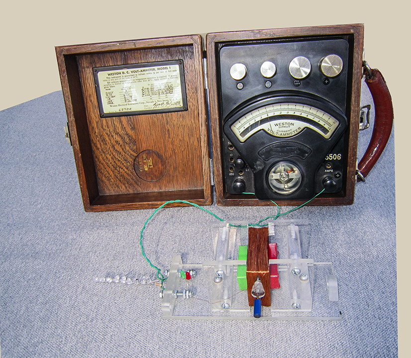 An model A.C. generator connected to a Weston model 1 D.C. volt-ammeter and a string of leds