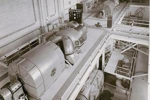 Parsons Turbine #2 in foreground and #1 unit in background, with cooling water lines one level below to the right of each unit.