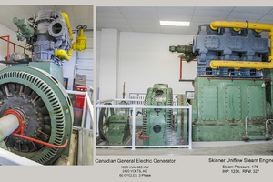 Skinner Uniflow Steam Engine & GE Alternator. The three-cylinder unaflow engine drove the GE generator at the Alberta Legislative Assembly building beginning in 1951.