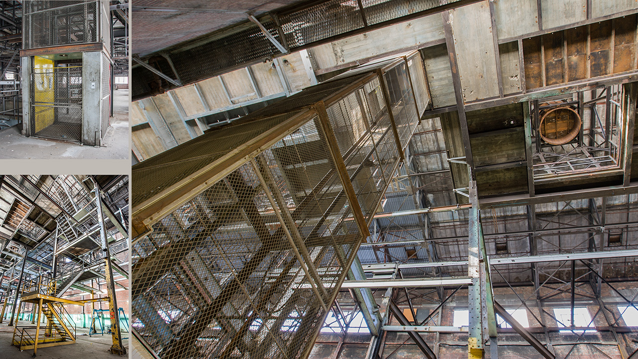 wire cage around elevator shaft