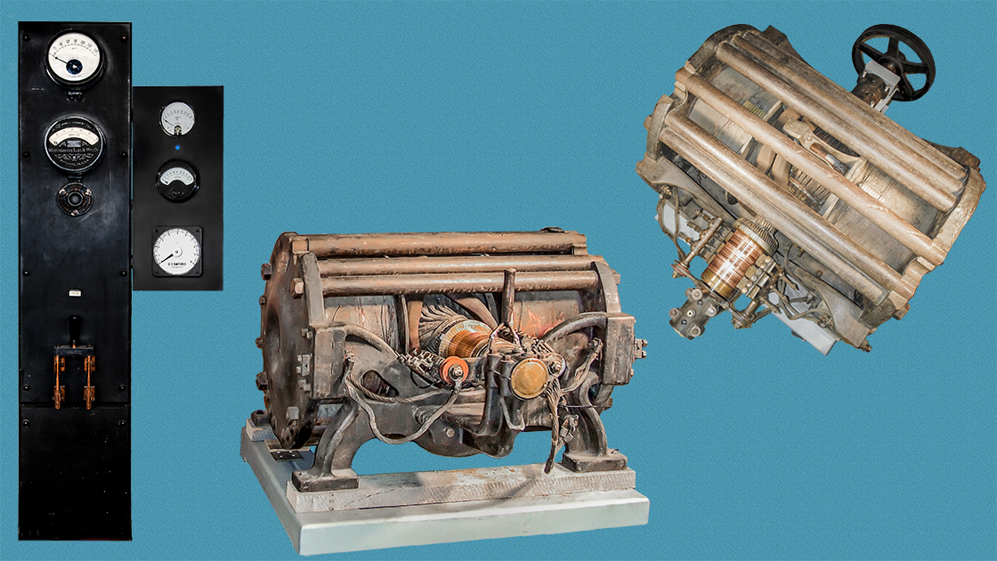 Aa 1880's Thomson Incandescent Dynamo generator rated at 30 kilo Watts, and 110 volts
