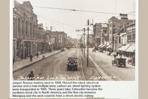 Jasper Avenue 1908 showing street car rails and overhead catenary for powering the streetcars