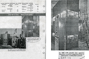 Two pages of a 1930s Sales Advertisement for trolley bus electric power apparatus. Items shown are: power transformer, AC to DC rectifier cubicle, control panel. The control panel shown in this advertisement is displayed at our museum.