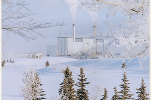 Frosty winter photo of Edmonton Power Cloverbar Generating Station