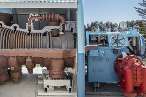 Steam turbine high pressure rotor and the bearing, governor and main oil pump pedestal.